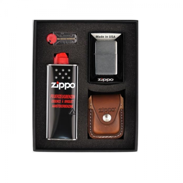 ZIPPO Geschenk-Set mit Tasche braun Schlaufe #251268