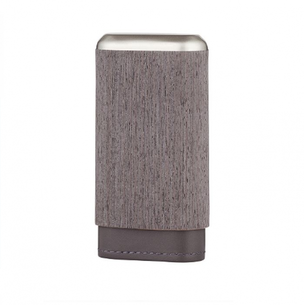 ANGELO 3er Cigar-Etui Holzfunier Leder grau #813050