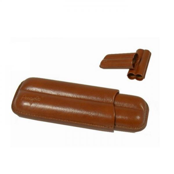 ANGELO 2er Cigarren-Etui Kunstleder braun Robusto #812100